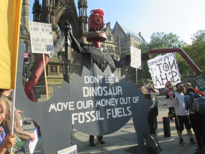 As divestment campaigns around the world gather momentum, in Manchester we are demanding that the Greater Manchester Pension Fund, the biggest local authority pension fund in the country, stops investing in fossil fuels, with over £1 billion invested in companies like Shell and BP -